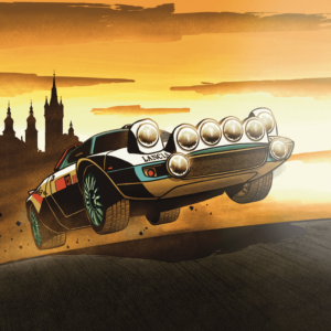 rallye-šumava-ilustrace-auto-lancia-skok-závod